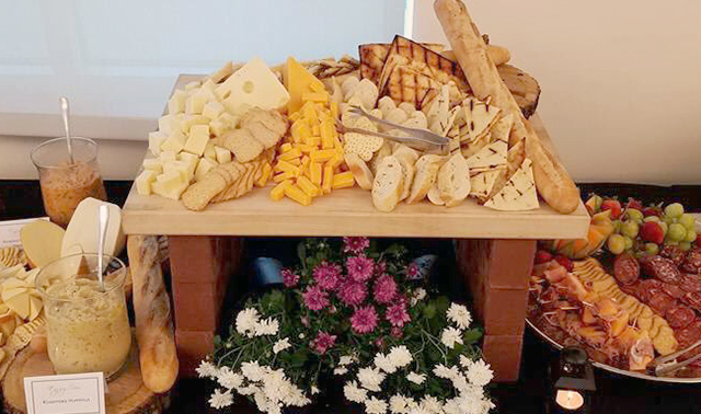 Cracker and cheese display