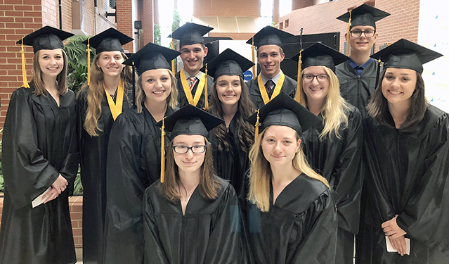 College Now! students who earned associate degrees participated in commencement in 2018.