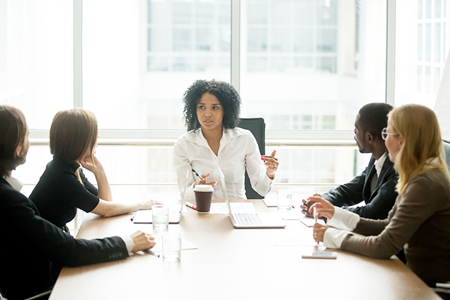 Business manager leading a meeting
