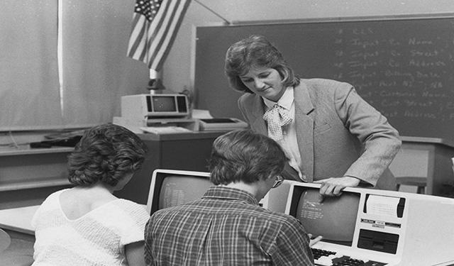 An early computer class.