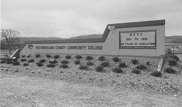 The college marquee in 1991.