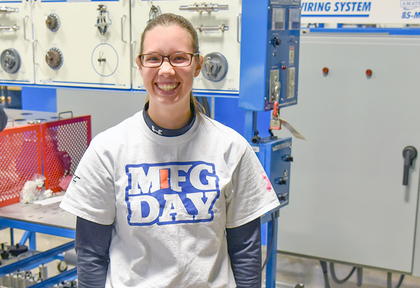 Kristen Suhan poses at Westmoreland County Community College's Women in Manufacturing event, October 2019.